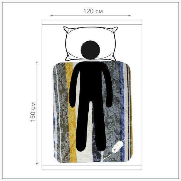Инфракрасная Электропростынь Sofy, 150*120, хлопок, с узором, 9 режимов, карбоновый нагреватель, автотаймер, Пульт ДУ, ES-414, EcoSapiens