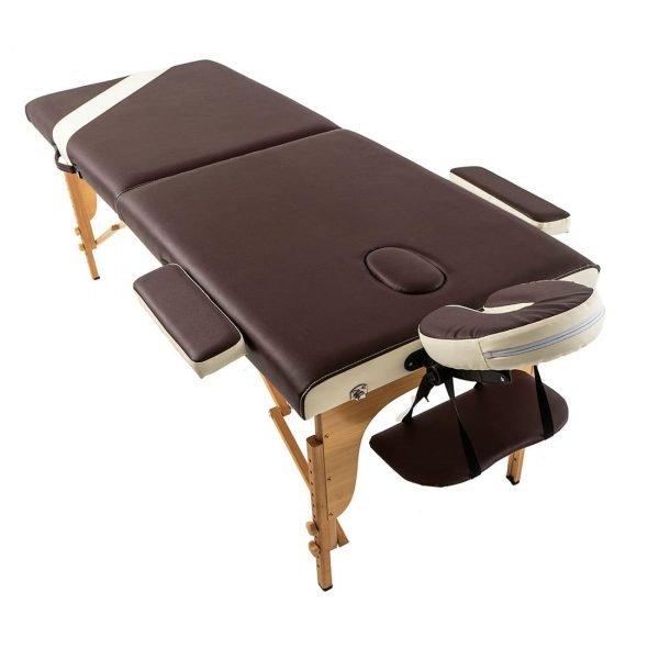 EcoSapiens переносной двухсекционный массажный стол на основе из бука Wellness с аксессуарами