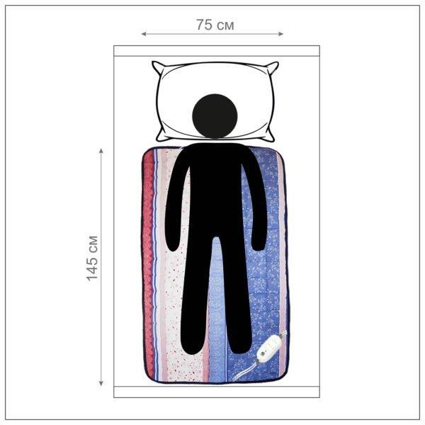 Электроматрац Lars, 145*75 см, EcoSapiens, инфракрасный прогрев, карбоновый нагреватель, 9 режимов, автоотключение, ручная стирка, матрас с подогревом ES-413