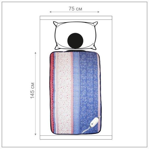 Инфракрасное домашнее тепло электроматрац Lars, 145*75 см, матрац с подогревом, 9 режимов, автоотключение, коробка,  EcoSapiens