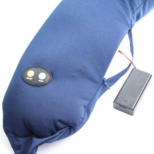 Массажная подушка uNeck blue, 6 режимов массажа, компактный размер, работа от батареек, автоматическое отключение