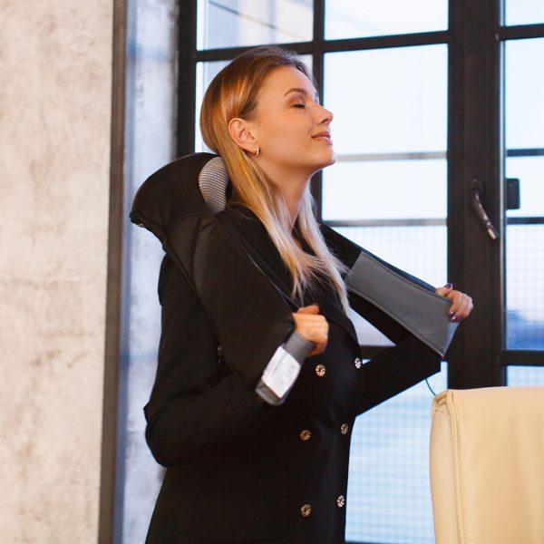 Массажер для шеи и плеч uBlack, домашний массажер, прогрев, автоматическое отключение, крепление для массажа поясницы, работа от сети/прикуривателя