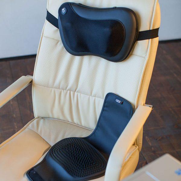 Массажная подушка uTenon, чёрная, 4 массажных ролика, акупунктурная накидка, прогрев, работает от сети/прикуривателя, автоотключение, GESS