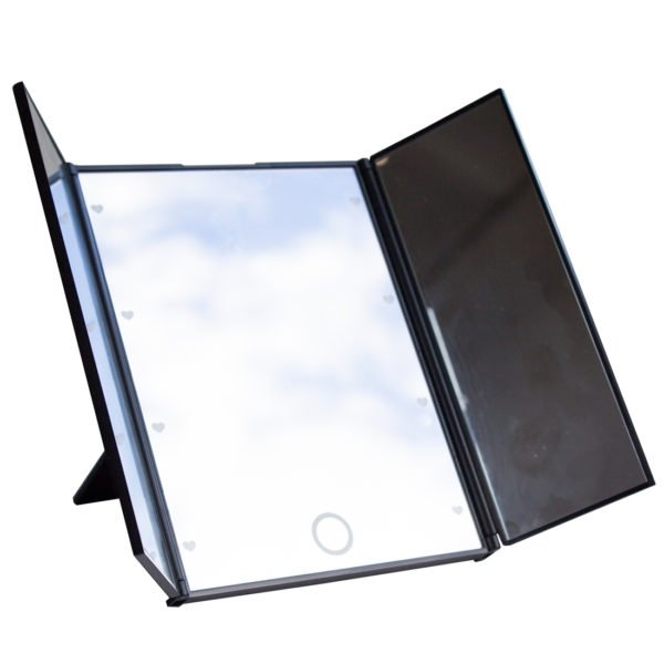Складное трехстворчатое косметическое зеркало uLike Porto для макияжа с подсветкой, 8 LED ламп, GESS