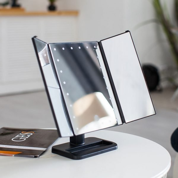 Настольное зеркало uLike для макияжа с подсветкой раскладное, сенсорный экран, 24 LED лампы, GESS