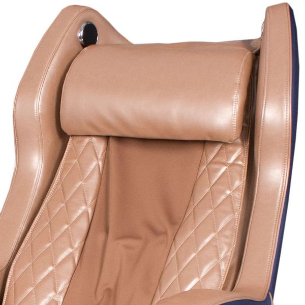 Массажное кресло Bend сине-коричневое, L-образная каретка, колонки, массаж фиксированной точки, прогрев, автоотключение GESS