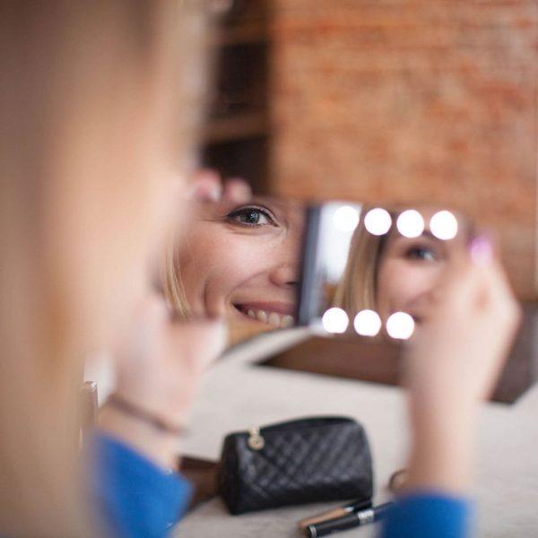 Складное косметическое зеркало uLike Compact для макияжа с подсветкой, 8 LED ламп, 1 сторона увеличивает в 2 раза, GESS