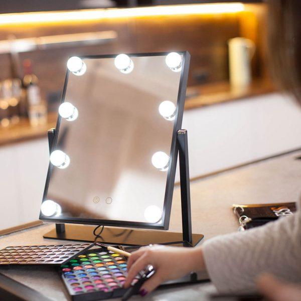Профессиональное зеркало uLike Maestro для макияжа с подсветкой с холодным и тёплым светом из 9 ламп, сенсорный экран, гримёрное зеркало, GESS
